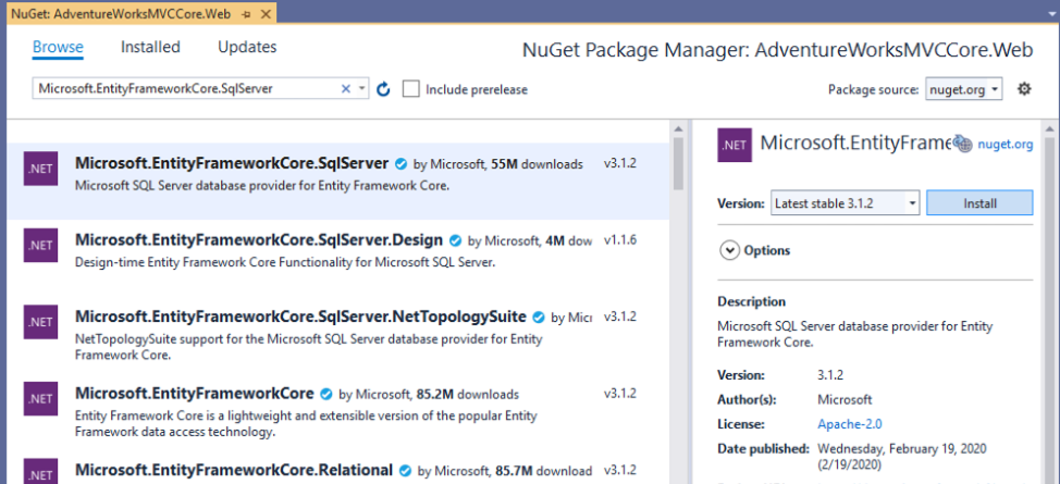 Add Entity Framework Core nuget