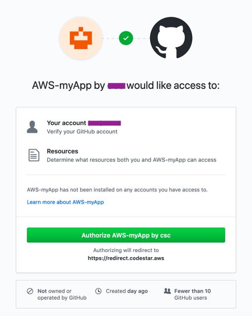 Authorize CodeStar for GitHub