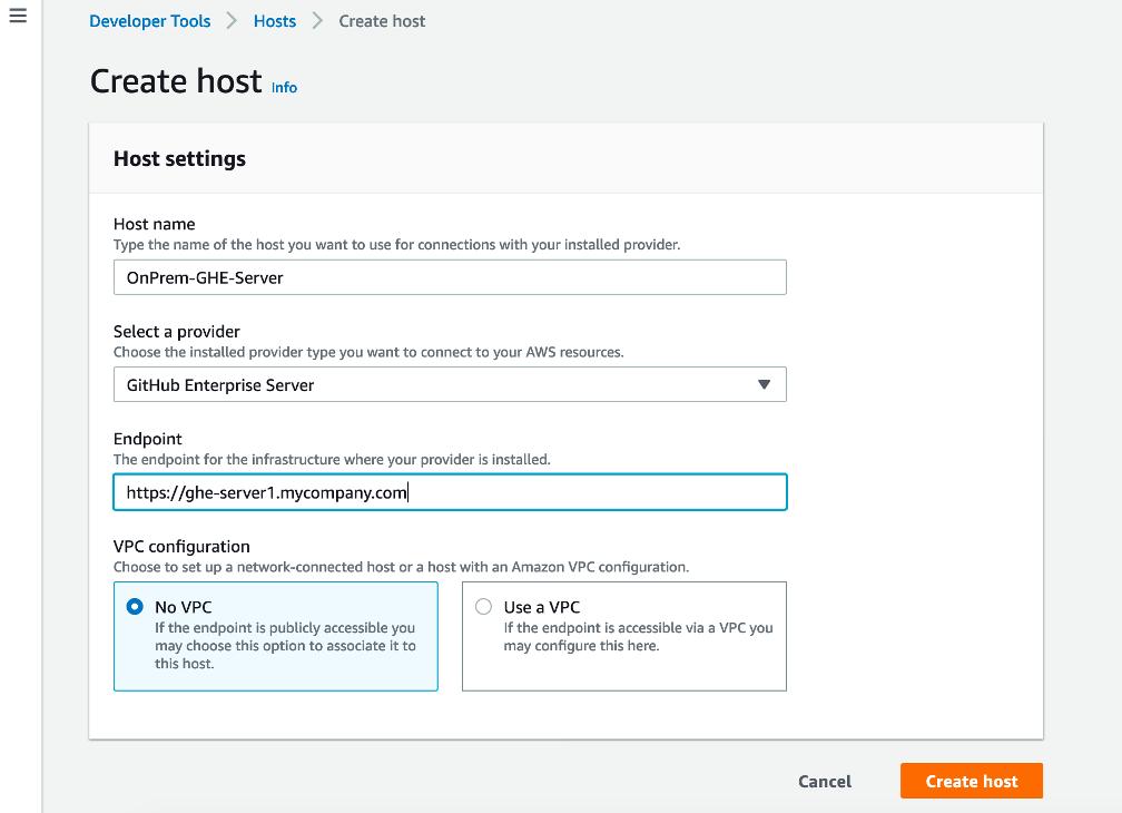 Create CodeStar Host