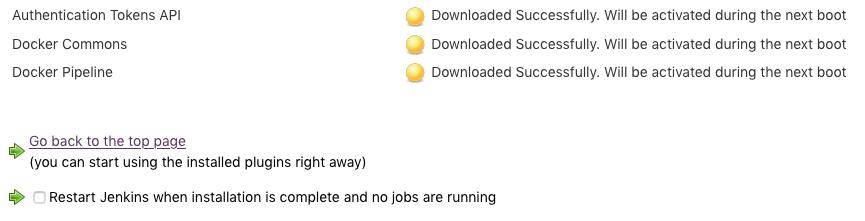 Jenkins plugins installation complete