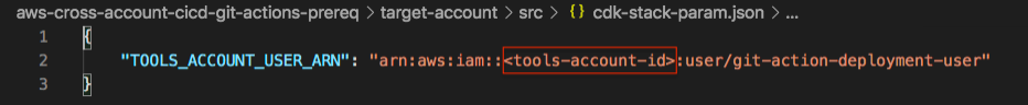 Replace <tools-account-id> with designated AWS account id