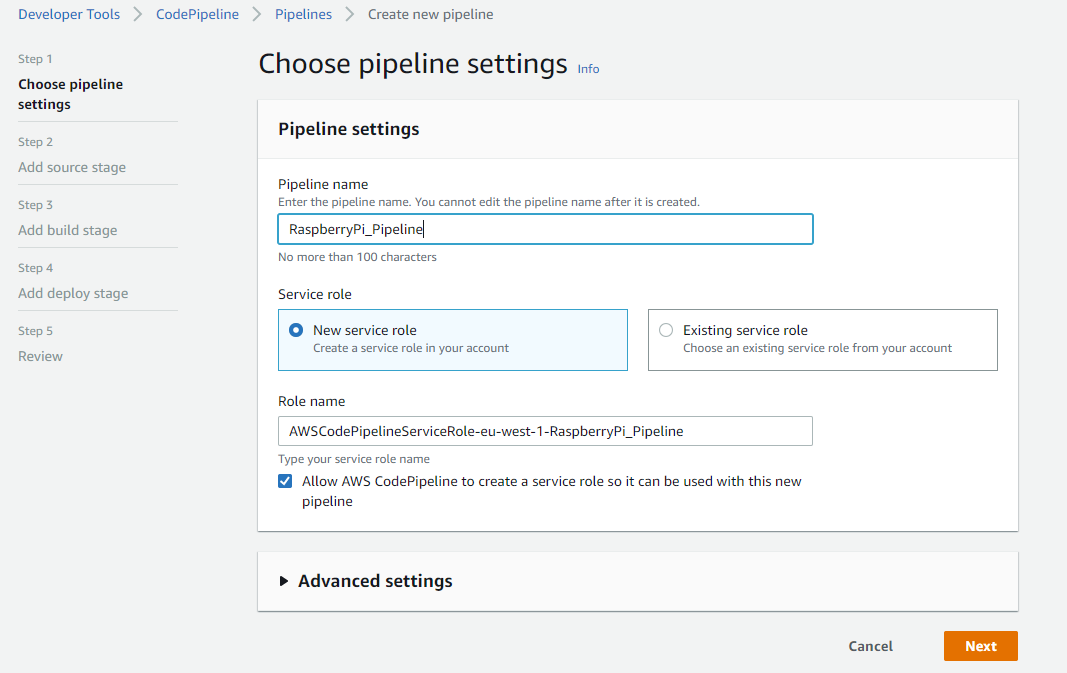 Pipeline settings