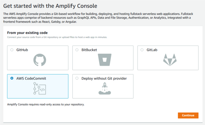 Amplify get started page