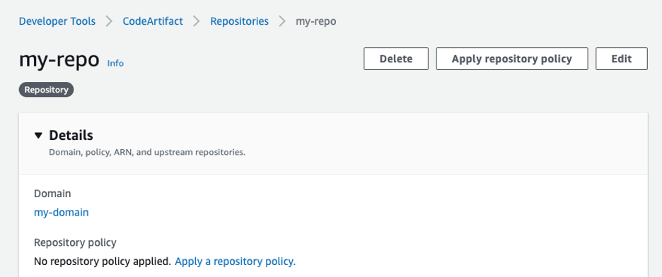CodeArtifact repository details console