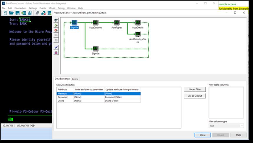 VHI designer Procedure Editor shows the procedure