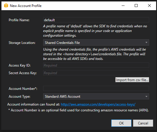 Visual Studio Toolkit for AWS Account Profile Setup