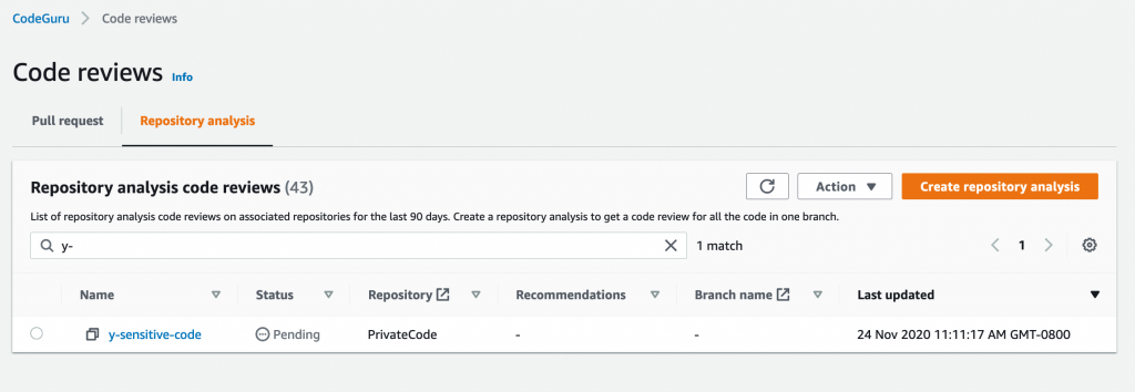 Screenshot of code review in Pending state