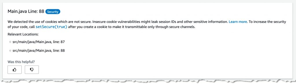 An example CodeGuru finding that shows how to ensure cookies are secured.
