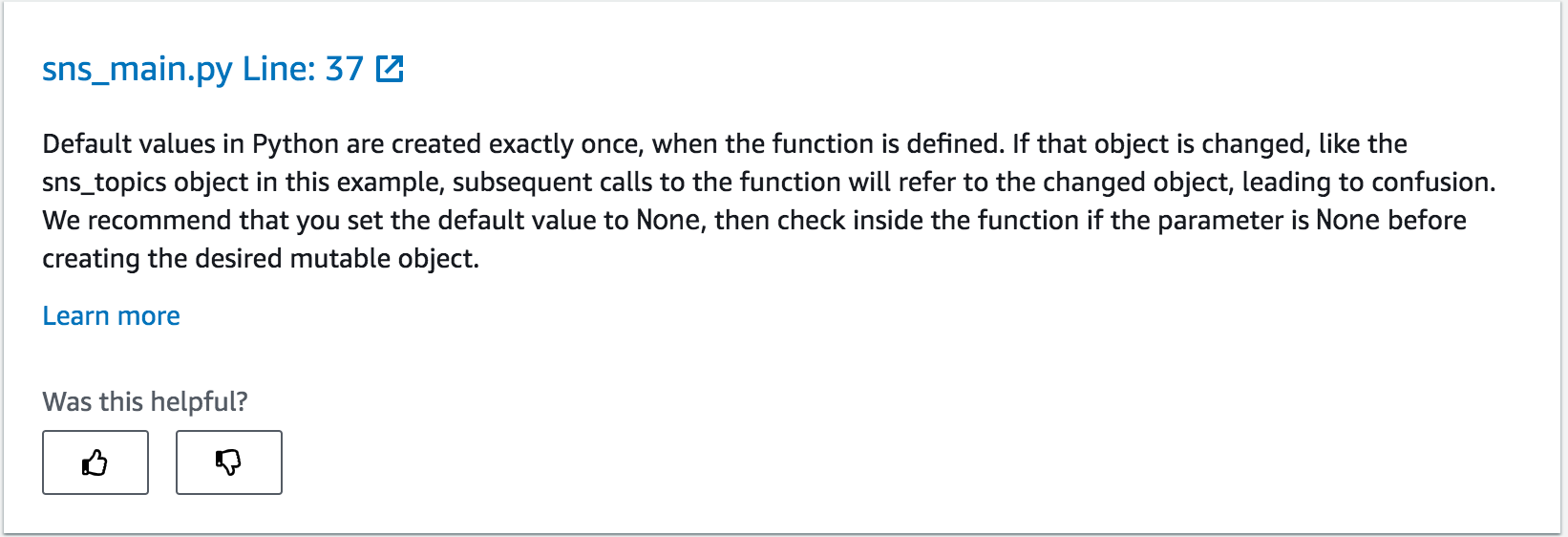 The following screenshot shows CodeGuru Reviewer recommends about initializing a value for mutable objects