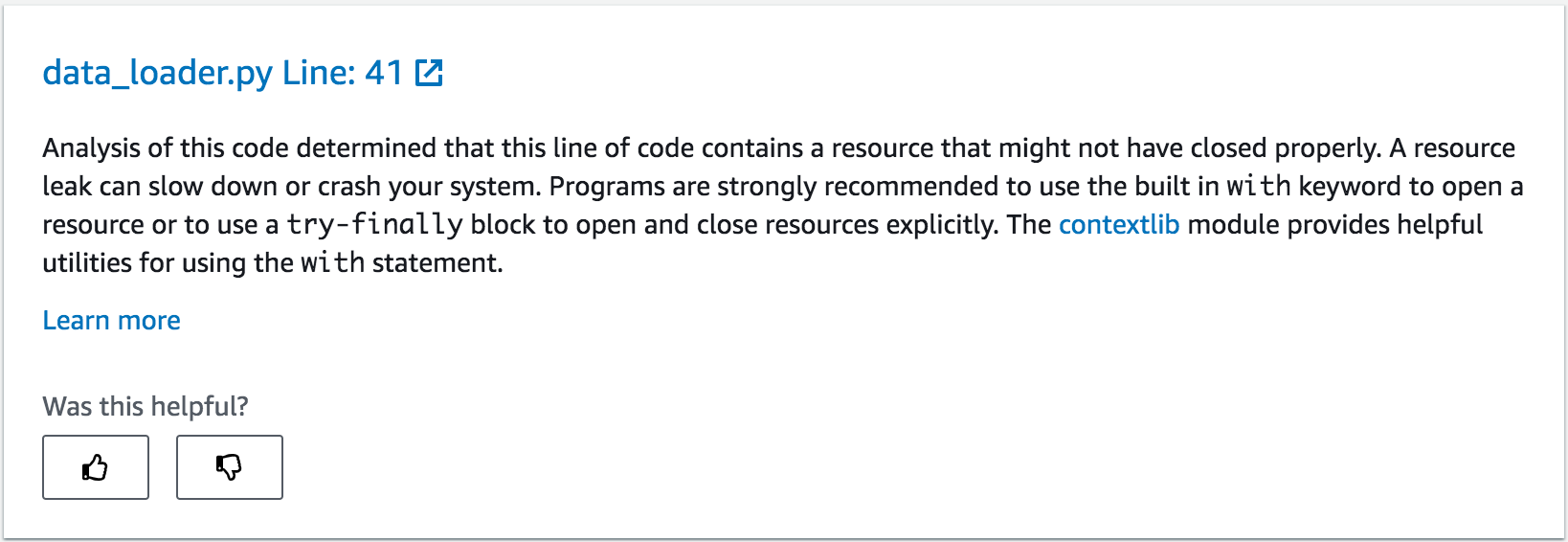 The following screenshot shows CodeGuru Reviewer recommend about fixing the potential resource leak