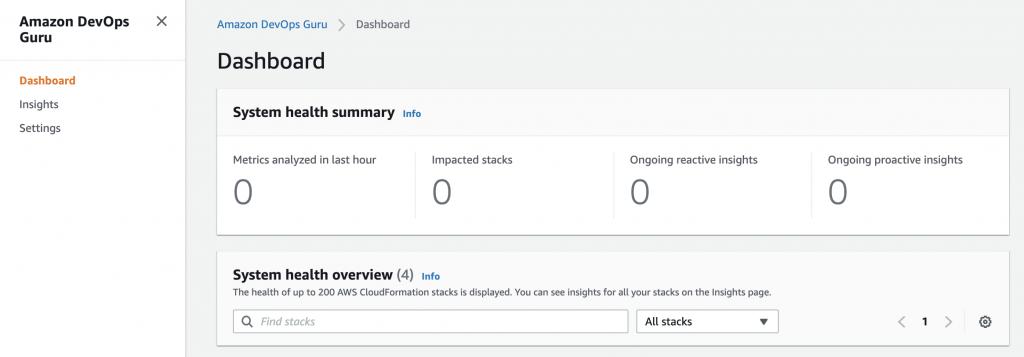 Figure: Screenshot of DevOps Guru dashboard