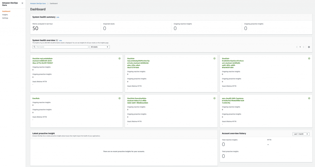 Figure: Screenshot of DevOps Guru dashboard showing DevOps Guru enabled for all CloudFormation stacks