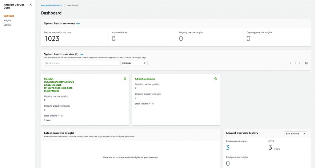 Figure: Screenshot of DevOps Guru dashboard showing DevOps Guru enabled for only two CloudFormation stacks
