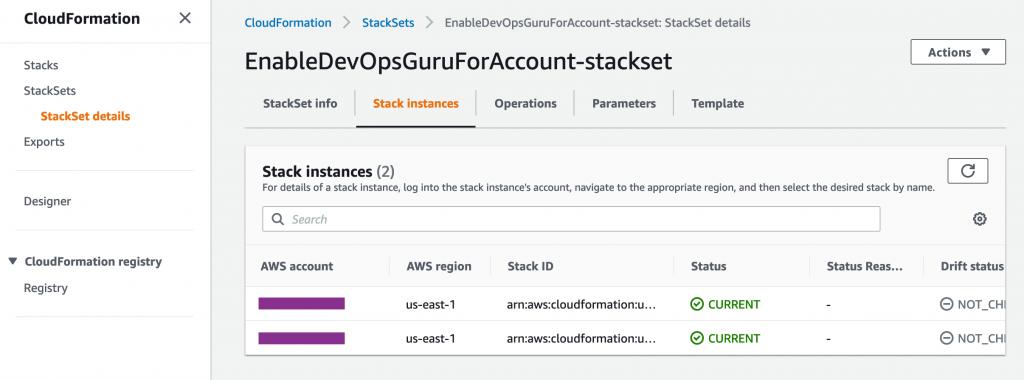 Figure: Screenshot for deployed StackSet and Stack instances