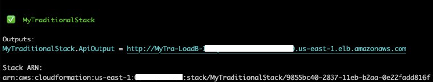 Traditional CloudFormation stack outputs