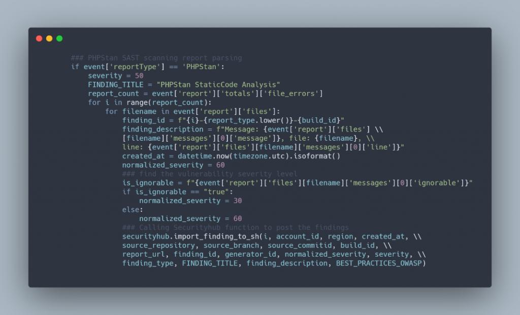 Lambda code snippet for PHPStan