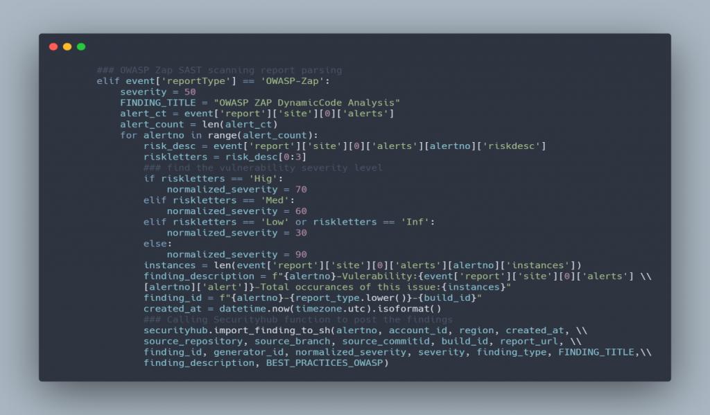 Lambda code snippet for OWASP-Zap