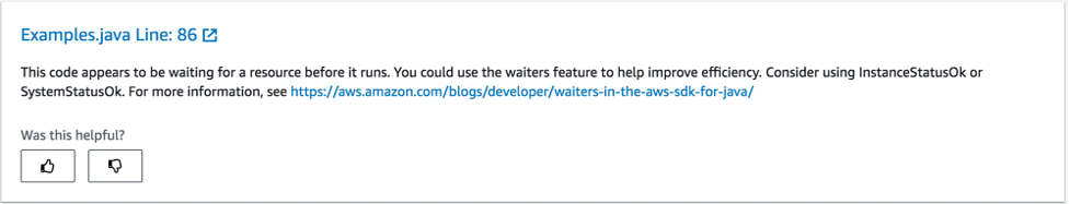 Screenshot of recommendations for introducing waiters feature