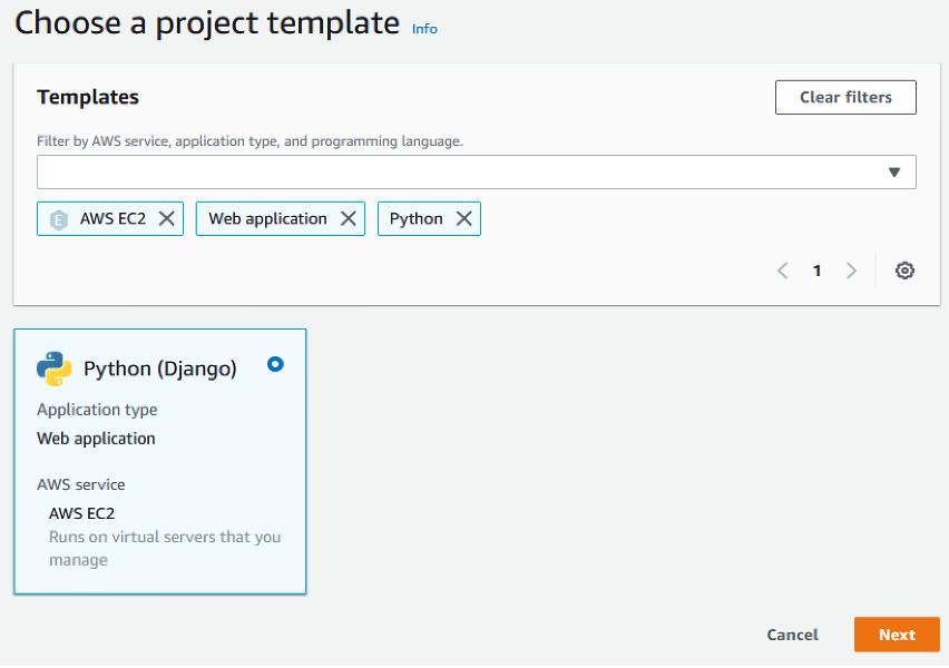 Figure 2: Choose a template in CodeStar