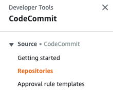 CodeCommit consol screenshot