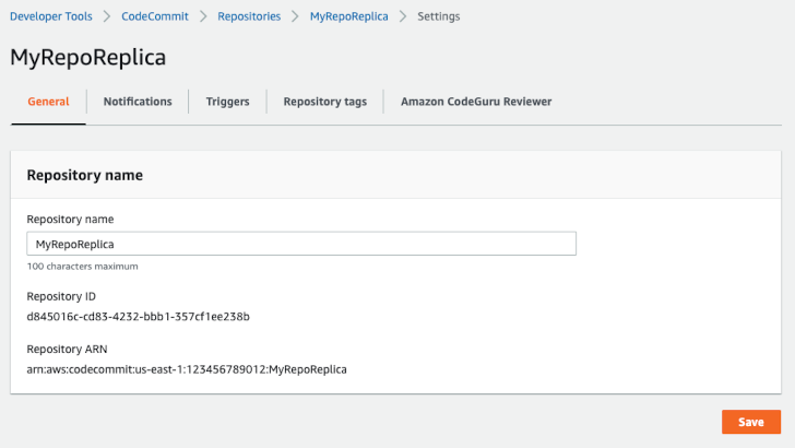 CodeCommit repo screenshot