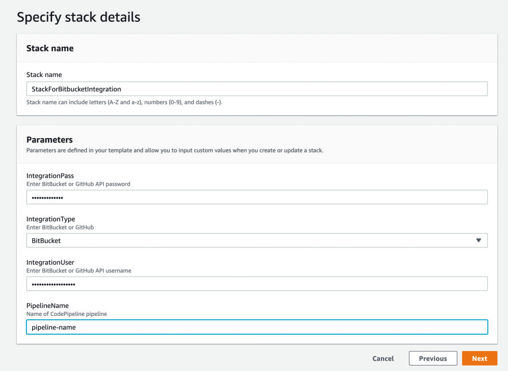 CodePipeline build status CloudFormation Parameters