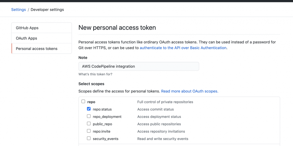 Github Personal access token permissions