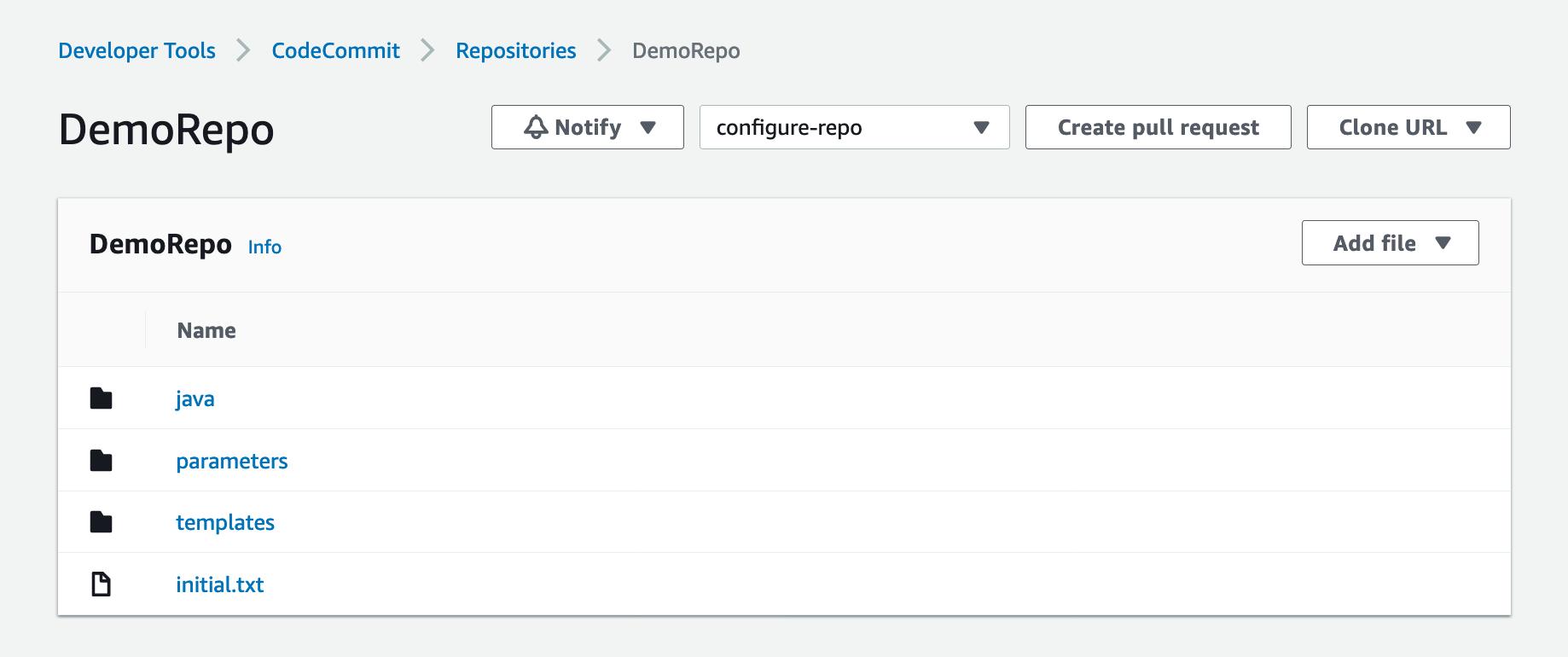 Shows the DemoRepo code