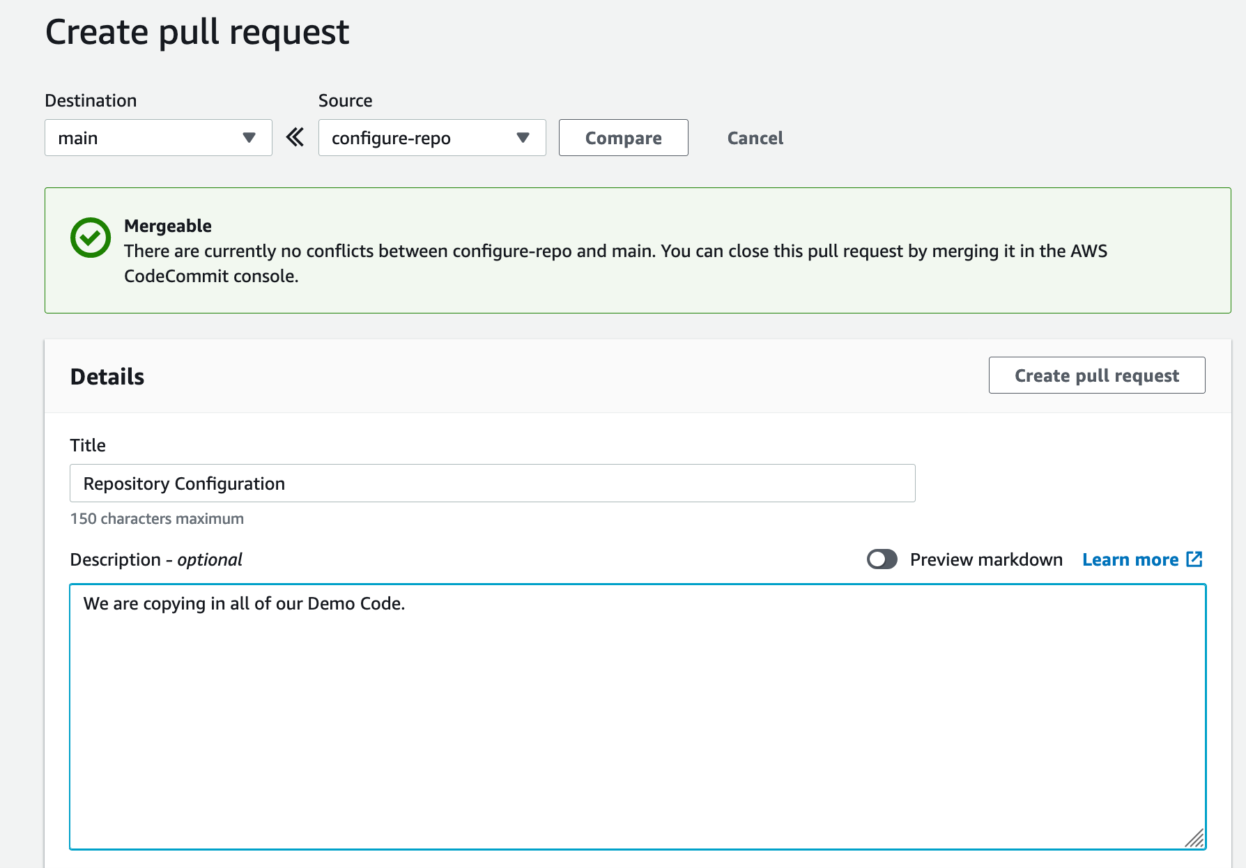 Shows a pull request for DemoRepo