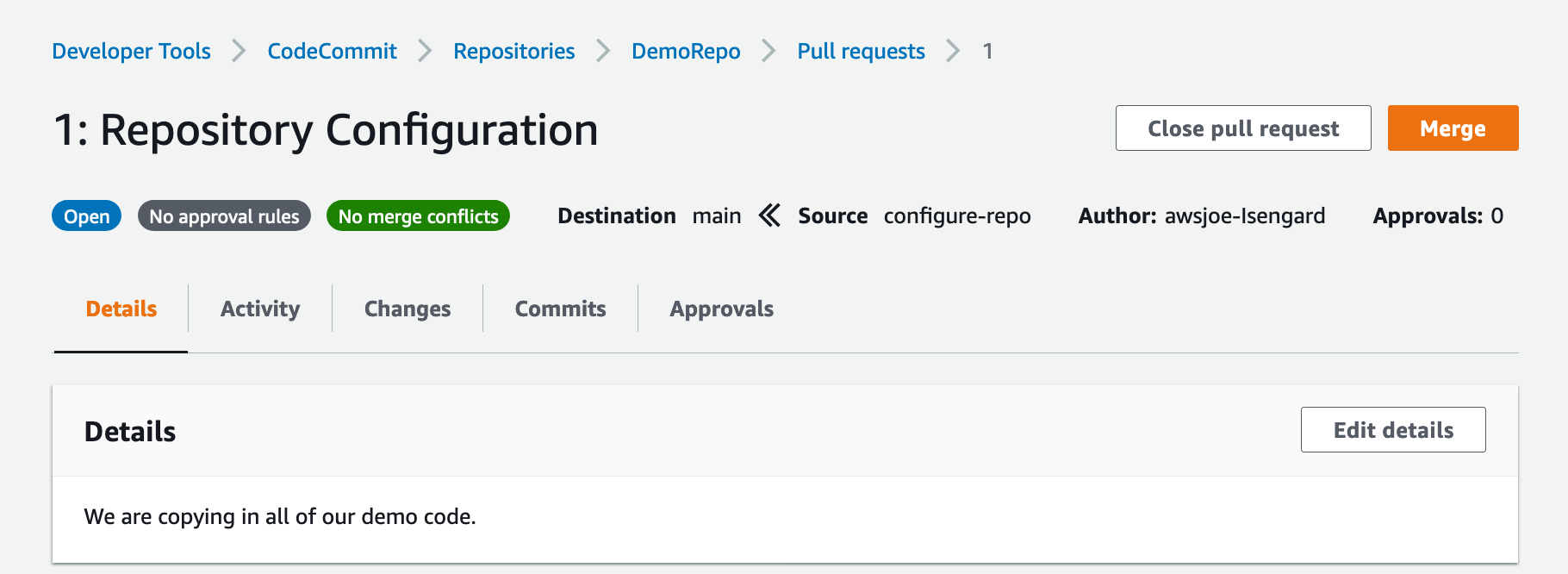 Shows merge for DemoRepo pull request