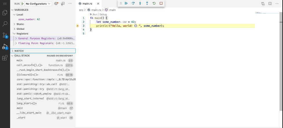 Code Server Debugger view