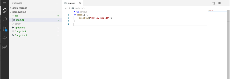 Main Code Server editor window showing helloworld Rust program code.
