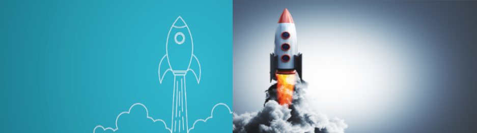 Startup Company rocket and Mature Company rocket