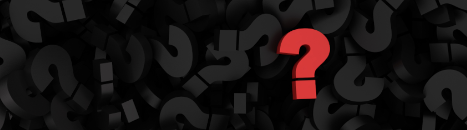 A red question mark sits on a field of chaotically arranged black question marks.