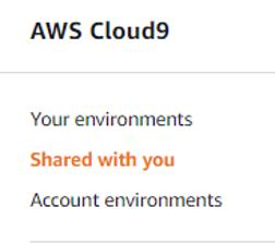 Screenshot of Cloud9 console showing environments