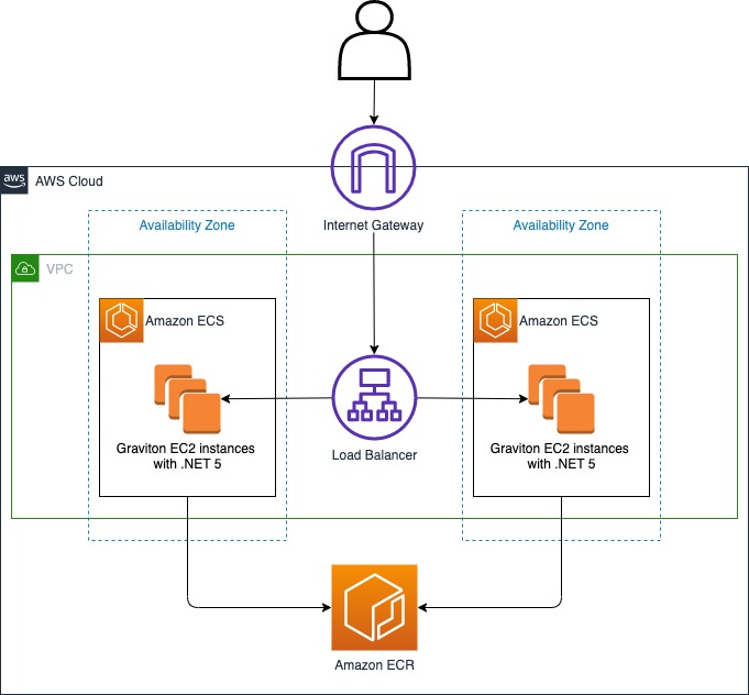 Show load balanced Amazon ECS Cluster running .NET application