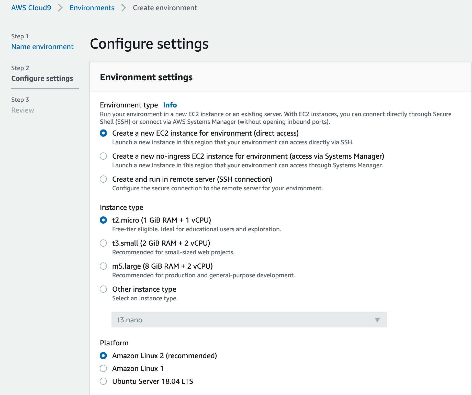 Show Cloud9 Environment settings