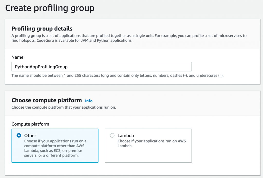 Create profiling group