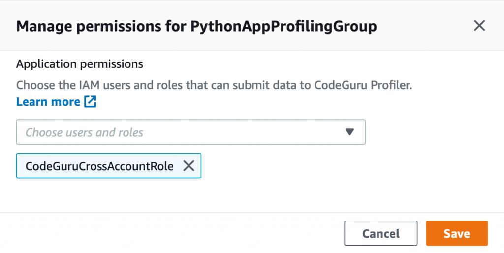 Manage permissions for PythonAppProfilingGroup