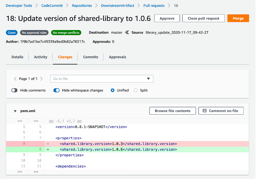 Screenshot of the Pull Request in AWS CodeCommit