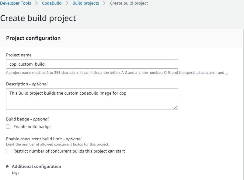 Create CodeBuild project to build custom Docker Image