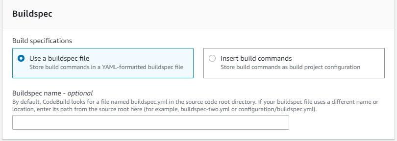 Create CodeBuild project - Buildspec