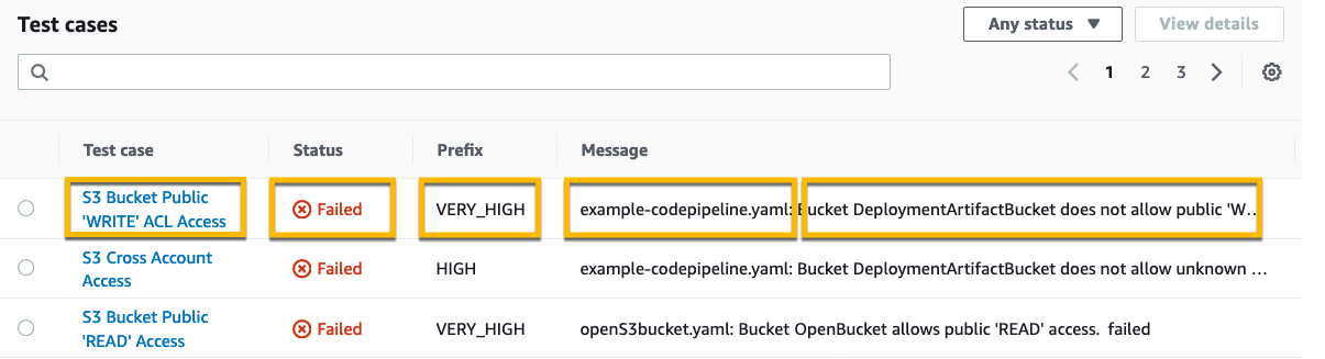 CodeBuild Reports page with fields highlighted that correspond to cucumber JSON fields