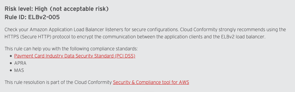 Screenshot of Trend Micro Cloud One Conformity rule from their website