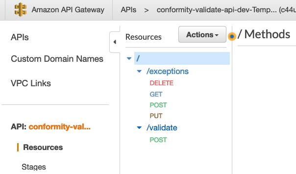 screenshot of API gateway for centralized template scanner api