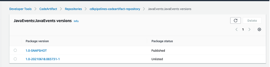 aws-codeartifact-repository-package-versions