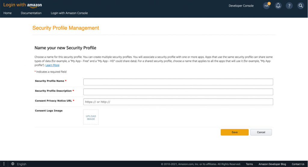 Screenshot of Login with Amazon console showing Create a New Security Profile form