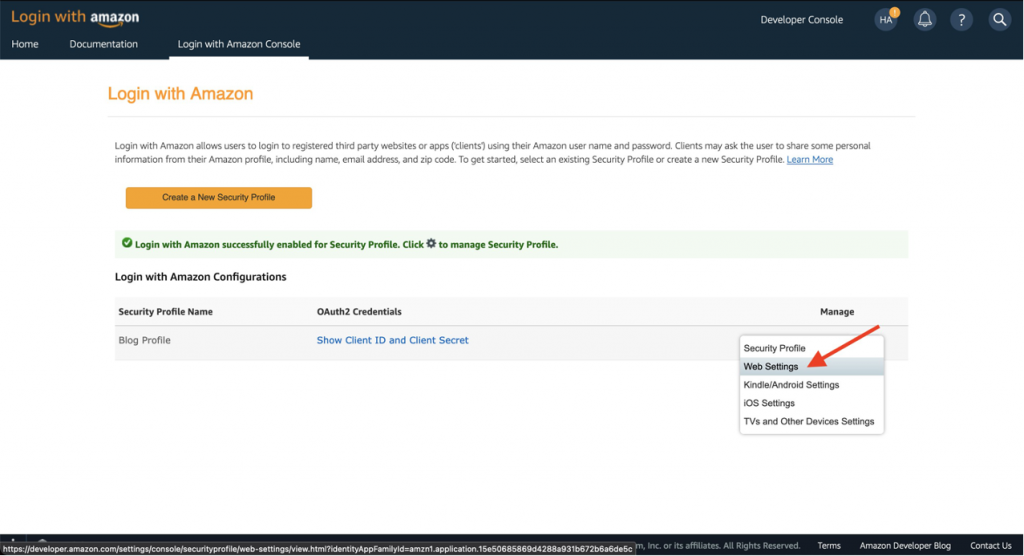 Screenshot of Login with Amazon console showing location of Web Settings link