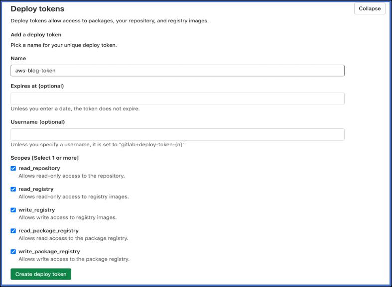 Screenshot for deploy tokens