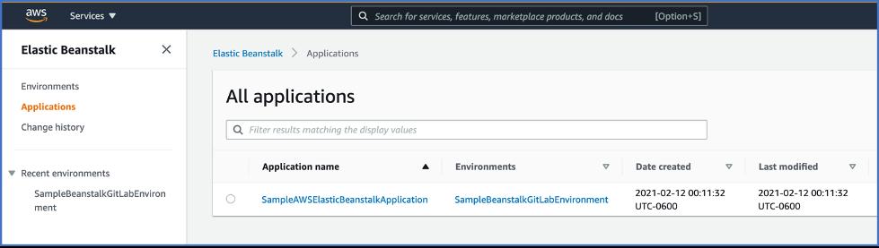 Elastic Beanstalk screenshot